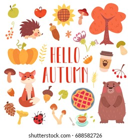 Hello autumn cute animals and attribute set. Forest adorable fox, bear, hedgehog, plants and food.