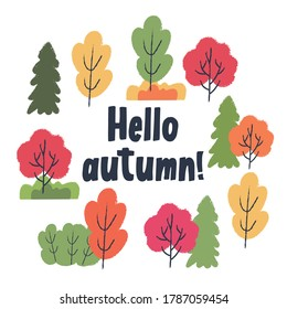 Hello, autumn. Autumn different colored trees and shrubs. Vector set of clipart.