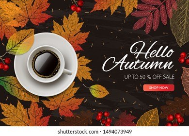 Hello Autumn. Fall season Sale and discounts banner, vector illustration. Autumn, fall leaves, hot steaming cup of coffee