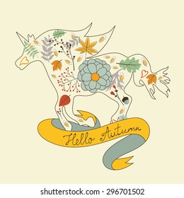 Hello autumn floral horse illustration in vector format