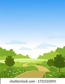 Hello, autumn. Fruit trees with a crop on a farm. Green hills and meadows, blue sky with clouds, apples on the trees. Card with a summer landscape. Flat vector illustration