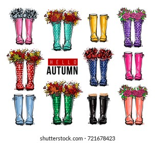 Hello autumn greeting card. Different colors wellies collection. Rubber boots with roses flowers and autumn leaves. Vector illustration in watercolor style. Decoration seasonal celebration