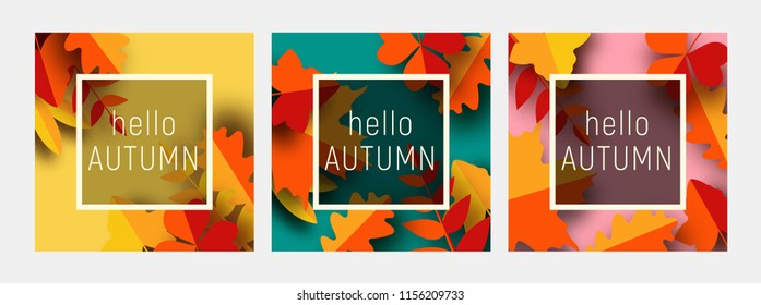 Hello autumn greeting card template. Fall illustration with paper cut orange, red and yellow leaves. Square banners in trendy craft style.