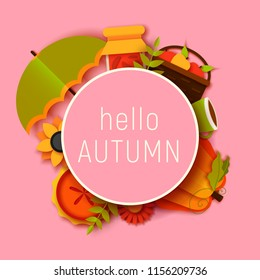 hello autumn greeting card template. Fall illustration with paper cut flowers, leaves, pumpkin, pie, umbrella. jam, cup, fruits banner in trendy craft style.