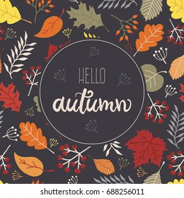 Hello Autumn Greeting Card with Text and Seamless Leaves Pattern