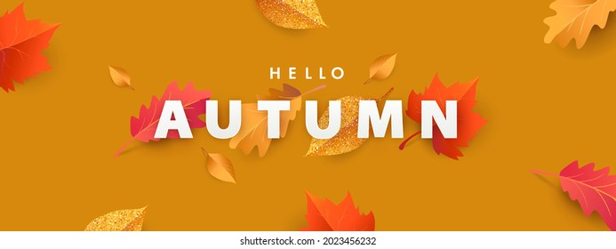 Hello Autumn illustration with phrase in paper cut style decorated with beautiful bright leaves on Amber Glow colored background. Design for label, card, Sale or promotional poster, flyer, web banner