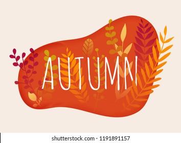 Hello autumn. Autumn leafs on the background. Flat design modern vector illustration concept.