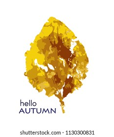 Hello. autumn leave. Watercolor. Hand drawn