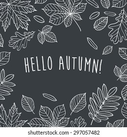 Hello autumn! Autumn leaves are drawn with chalk on black chalkboard. Sketch, design elements. Vector illustration.
