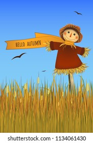 Hello Autumn poster. Smiling scarecrow on field. Vector.