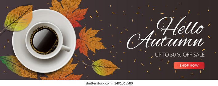 Hello Autumn Sale horizontal banner. Cup of coffee with autumn leaves. vector illustration for web banners invitation poster