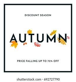 Hello Autumn Sale text poster of September leaf fall or autumnal foliage of maple, oak acorn and elm for shopping sale design or promo poster and frame leaflet or web banner