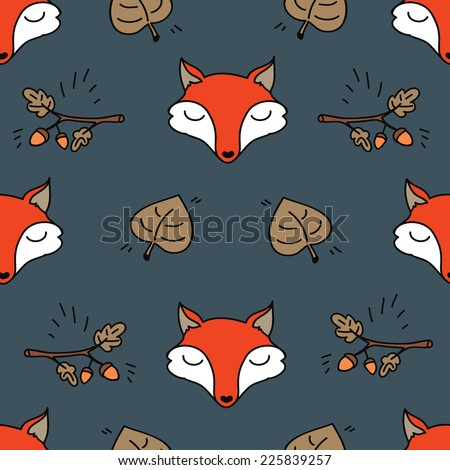 hello autumn seamless texture with cute fox and oak branch, vector illustration