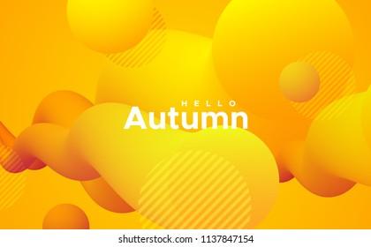 Hello Autumn. Seasonal orange abstract background. Trendy futuristic vibrant poster. Creative vector illustration. Liquid vibrant gradient shapes. Minimal modern cover design