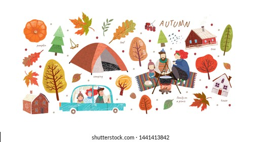 Hello, Autumn. Set of cute vector objects on the autumn theme: happy family on a picnic, camping, trees, leaves, house, pumpkin, tent, travel. Illustrations for a card, poster or background.