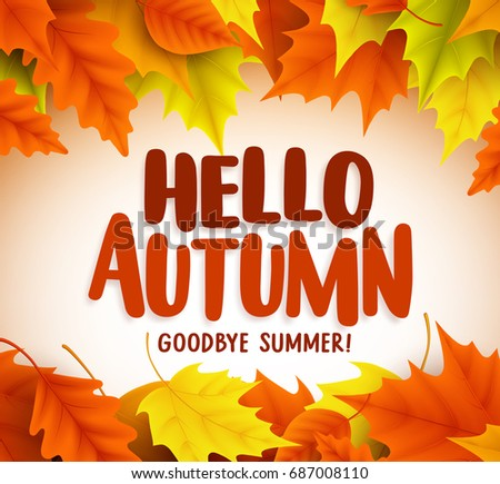 Hello autumn text greetings vector banner stock vector royalty free hello autumn text greetings in vector banner design with colorful maple leaves in white background for m4hsunfo