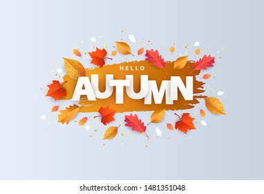 Hello Autumn Vector illustration with phrase in paper cut style decorated with beautiful bright leaves on light background. Design for greeting card, Sale or promotional poster, flyer, web banner