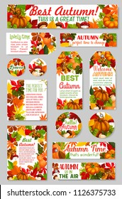 Hello Autumn and Welcome Fall seasonal greeting card, tag or banner of maple and birch leaf, wheat or rye and pumpkin harvest, amanita mushroom and oak acorn. Vector autumn holiday design set