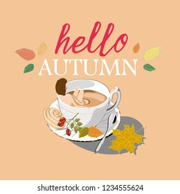 Hello Autumn. Woman and autumn tea. Vector illustration of woman bathing in autumn tea with leafs and rosehips on vanilla background