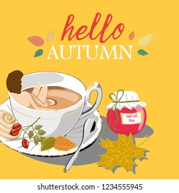 Hello Autumn. Woman and autumn tea. Vector illustration of woman bathing in autumn tea with leafs and rosehips on yellow background