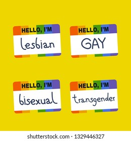 Hello, I'm badge. Open homosexuality. Self determination. Coming out. LGBT community. Flat editable vector illustration, clip art