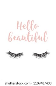 Hello beautiful poster lashes girl room decor logo