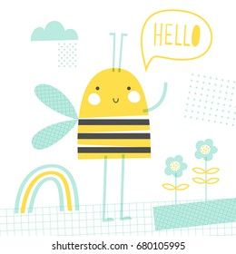 Hello bee: doodle vector illustration for kids. Fashion baby print in yellow and turquoise colors.