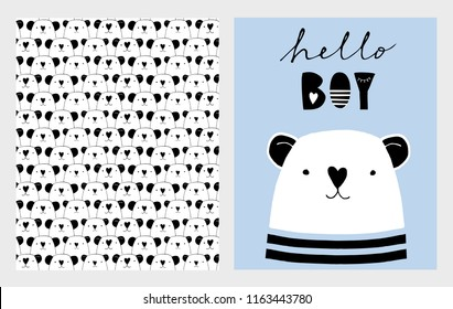 Hello Boy. Cute Hand Drawn Baby Shower Vector Illustrations Set. White Little Bear on a Blue Background. Heads of Bears Pattern. Infantile Design. Hand Written Black Letters. Nose in the Heart Shape.