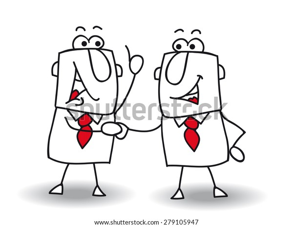 Hello boy. two businessmen shaking hands.It's ok ! I swear to you !