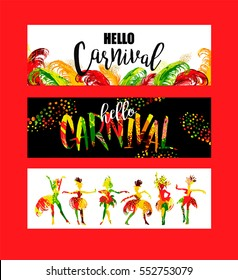 Hello Carnival. Bright festive banners trending abstract style. Vector illustration
