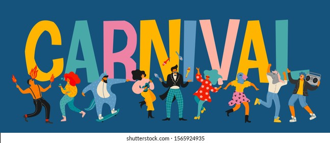 Hello Carnival. Vector illustration of funny dancing men and women in bright modern costumes. Design element for carnival concept and other use.