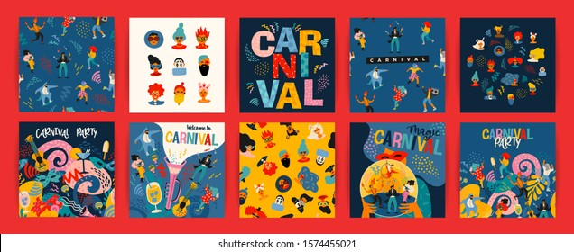 Hello Carnival. Vector set of illustrations with funny dancing men and women in bright modern costumes, carnival objects and abstract shapes. Design element for poster, cars, banner and other use.