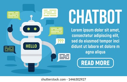 Hello chatbot concept banner. Flat illustration of hello chatbot vector concept banner for web design