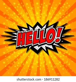 Hello ! - Comic Speech Bubble, Cartoon