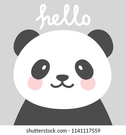 Hello Cute Panda Character Vector Design, greeting card, invitation with panda, greeting card, poster, with cute, sweet hand drawn watercolor background