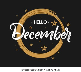 Hello December - Grunge - Vector for greeting, new month