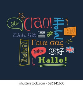 Hello in different languages. Vector illustration.