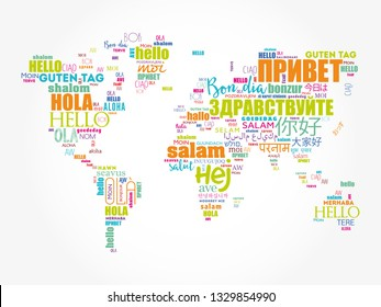 Hello in different languages word cloud World Map, business concept background
