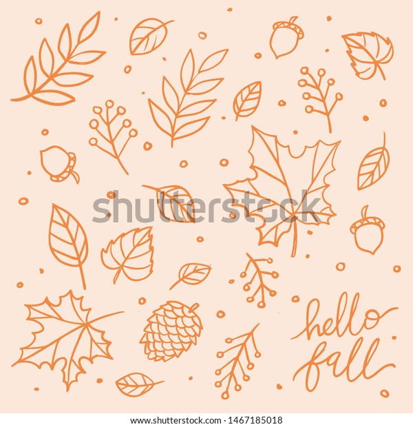 Hello fall isolated vector clip art lettering illustration. Autumn leaf line art doodle for print, poster, greeting card, design element, social media