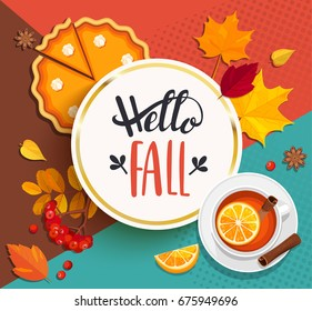 Hello Fall lettering in gold frame on geometric background with pupmkin pie, hot spiced tea and autumn leaves. Vector illustration.