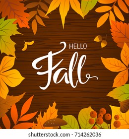 hello fall seasonal autumn leaves frame background