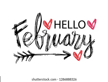 Hello February hand lettering