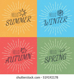 hello four season, vector calligraphy style with retro texture, flat minimal design