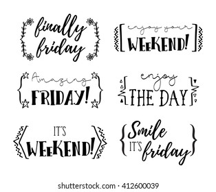 Hello friday, enjoy the day, finally friday, its weekend, vector phrases