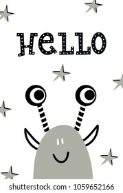 Hello - Funny nursery poster with monster and lettering. Monochrome kids vector illustration in scandinavian style.