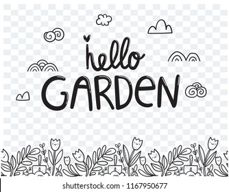 Hello garden poster. Hand drawn seamless bottom border. Vector flowers and plants.