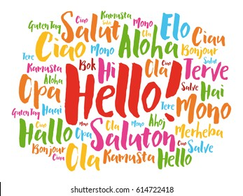 Hello hand drawn word cloud in different languages of the world, background concept