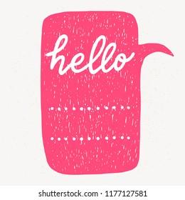 'Hello' hand lettering. Fun doodle style typographic headline in pink speech bubble.