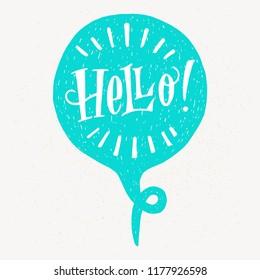 'Hello' hand lettering. Fun doodle style typographic headline in blue speech bubble.