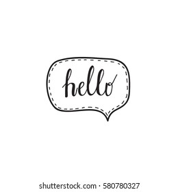 Hello hand written words calligraphy in a speech bubble lettering